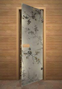 Дикая слива стеклянная дверь для сауны