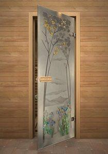 Ирисы стеклянная дверь для сауны