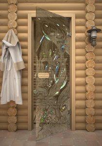 Осетры стеклянная дверь для сауны с фьюзингом