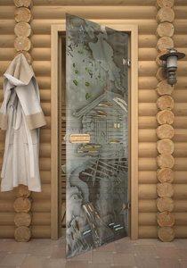 Пейзаж стеклянная дверь для сауны
