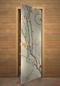 Сакура стеклянная дверь для сауны