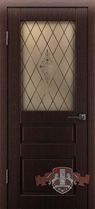дверь 15ДО7 Честер темный венге остекленная