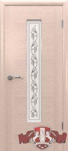 Дверь 8ДО5 Рондо шпонированная беленый дуб остекленная