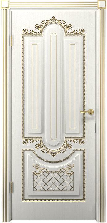 Дверь Олимпия белое дерево золото патина