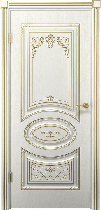 Дверь Вителия белое дерево золото патина